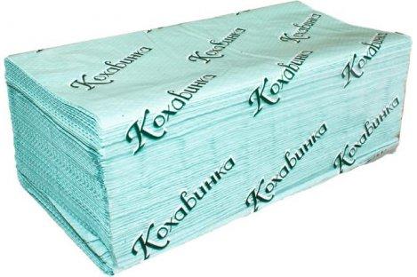 Рушники паперові  одношарові 200шт Z-складання зелені, Кохавинка