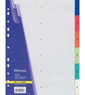 Розділювачі аркушів А4 6 розділів пластикові нумеровані кольорові, Buromax