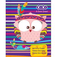 Папка для праці А4 на гумці ламінований картон Friendly Owls, Zibi