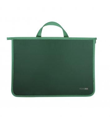 Портфель А4 пластиковий на блискавці 2 відділення зелений, Economix