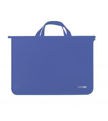 Портфель А4 пластиковий на блискавці 2 відділення синій,  Economix
