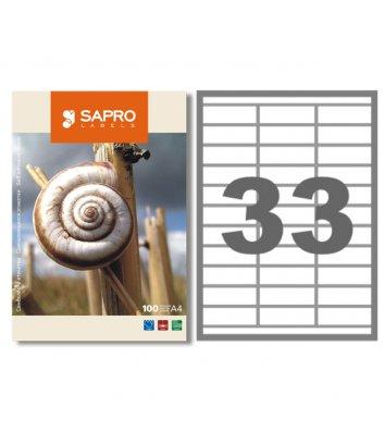 Етикетки самоклейні 70*25.4мм 33шт на аркуші 100арк/упак білі, Sapro