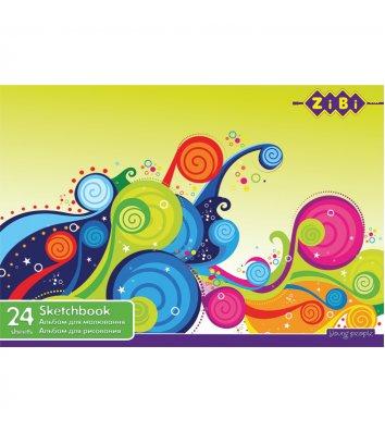 Альбом для малювання  А4 24арк на скобі асорті, Zibi
