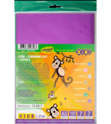 Бумага цветная самоклеящаяся А5 7л 7 цветов металлик, Zibi