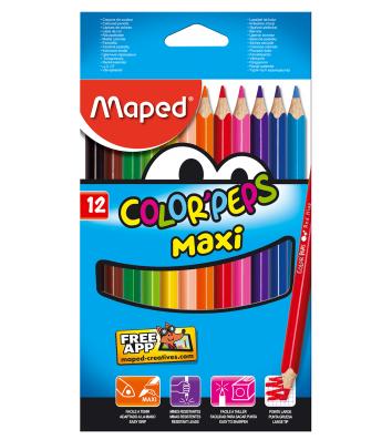 Олівці кольорові 12шт тригранні COLOR PEPS Maxi, Maped