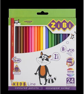 Олівці кольорові 24шт шестигранні Kids Line, Zibi