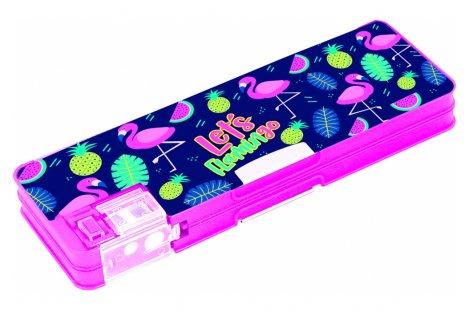 Пенал пластиковый 2 отделения на магните Flamingo, Cool for School