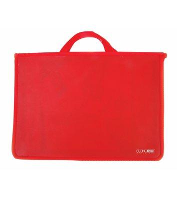 Портфель А4 пластиковий на блискавці 2 відділення червоний, Economix
