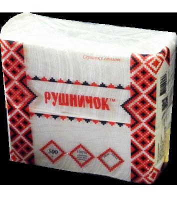 Серветки паперові  одношарові 500шт 24*24см білі, Рушничок