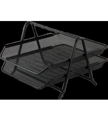 Лоток горизонтальный двойной металлический черный, Buromax