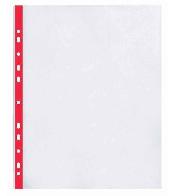 Файли А4+ 40мкм 100шт глянцеві з червоною стрічкою, Optima