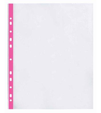 Файли А4+ 40мкм 100шт глянцеві з рожевою стрічкою, Optima