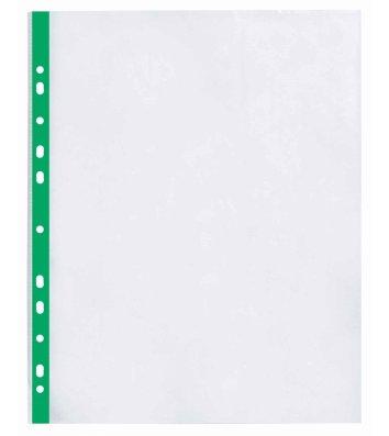 Файли А4+ 40мкм 100шт глянцеві з зеленою стрічкою, Optima