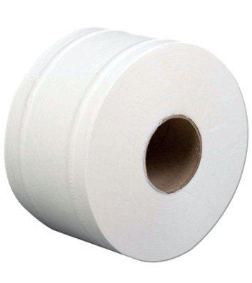 Туалетная бумага двухслойная Джамбо целлюлозная 100м на гильзе белая, Buroclean