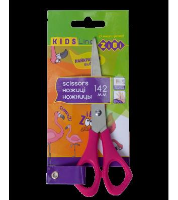 Ножницы детские 14,2см для левши ручки пластиковые розовые, Zibi