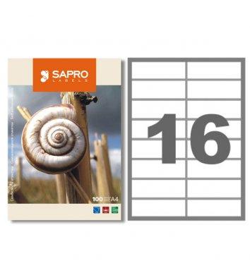 Этикетки самоклеящиеся 105*37,1мм 16шт на листе 100л/упак белые, Sapro