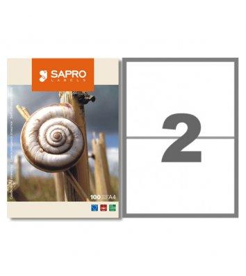 Этикетки самоклеящиеся 210*148,5мм 2шт на листе 100л/упак белые, Sapro