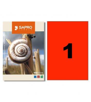 Этикетки самоклеящиеся 210*297мм 1шт на листе 100л/упак белые, Sapro