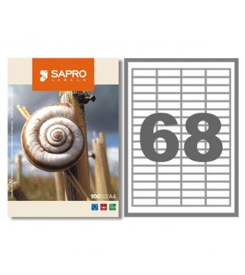 Этикетки самоклеящиеся 48,5*16,9мм 68шт на листе 100л/упак белые, Sapro