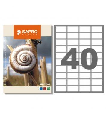 Этикетки самоклеящиеся 52,5*29,7мм 40шт на листе 100л/упак белые, Sapro