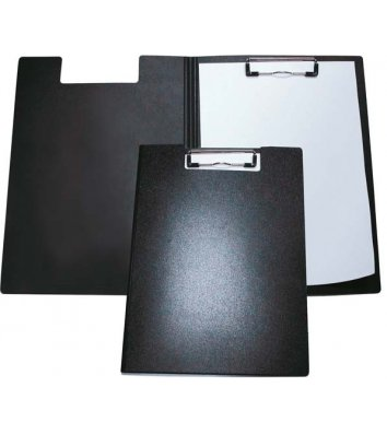 Планшет-папка А4 с прижимом пластиковая черная, Economix