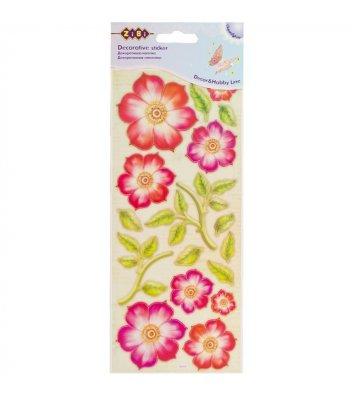 Наліпки декоративні з об'ємними елементами Квіти асорті, Zibi