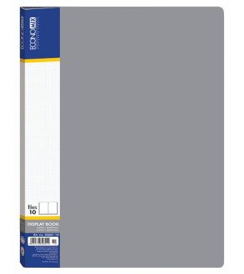 Папка А4 пластиковая с 10 файлами серая, Economix