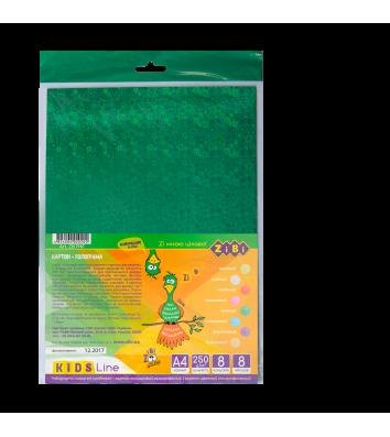 Картон цветной голографический А4 8л, Zibi