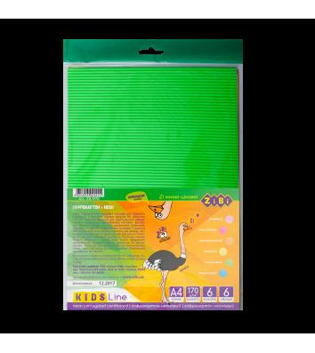 Картон цветной гофрированный А4 6л рельефный, Zibi