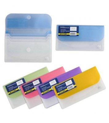 Папка-конверт на липучці 4 відділення пластикова Travel асорті, Buromax