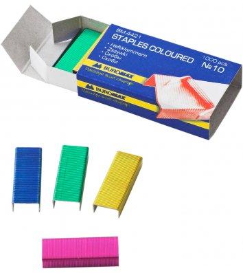 Скобы для степлера №10 1000шт цветные, Buromax