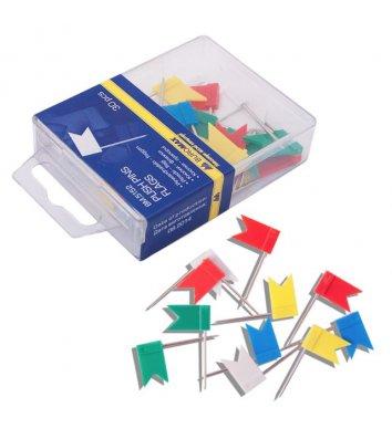 """Кнопки - цвяшки кольорові 30шт """"прапорці"""", Buromax"""