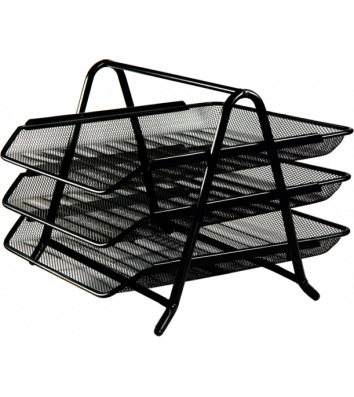 Лоток горизонтальный тройной металлический черный, Buromax