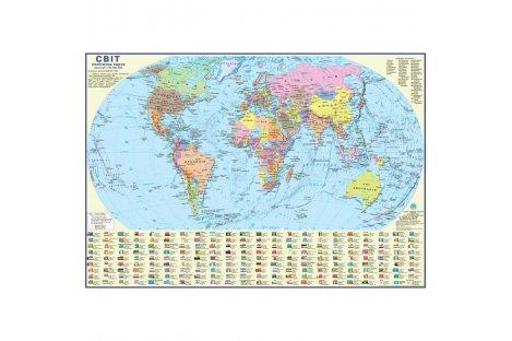 Политическая карта мира 110*77см картонная ламинированная