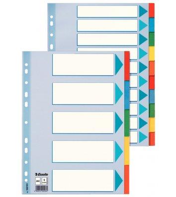 Розділювачі аркушів А4 10 розділів картонні, Esselte