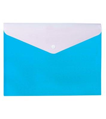 """Папка-конверт А4 на кнопці пластикова 2 відділення """"Вишиванка"""" блакитна, Optima"""