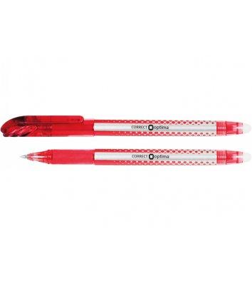 Ручка кулькова пиши-стирай Correct, колір чорнил червоний 0,7мм, Optima