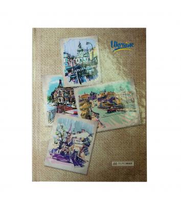 Блокнот А5 96арк клітинка, світло-коричневий Ukraine, Buromax