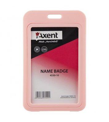 Бейдж  50*85мм вертикальний рожевий, Axent