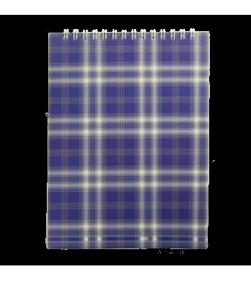 Блокнот А5 48арк клітинка Шотландка, верхня спіраль синій, Buromax