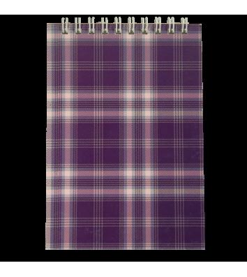 Блокнот А6 48арк клітинка Шотландка, верхня спіраль фіолетовий, Buromax