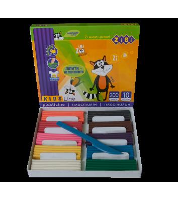 Пластилін 10 кольорів 200г, Zibi
