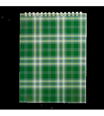 Блокнот А5 48арк клітинка Шотландка, верхня спіраль зелений, Buromax