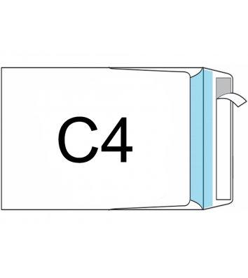 Конверт С4  25шт білий офсет з відривною стрічкою, бічний клапан