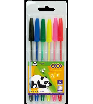 Набір кулькових ручок  6 кольорів 0,7мм, Zibi