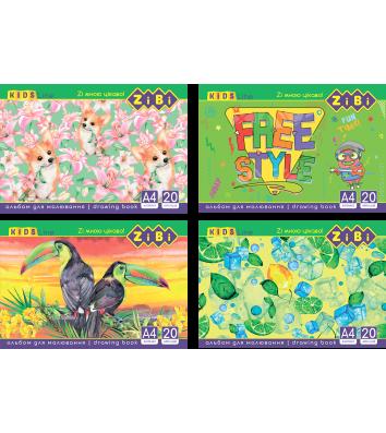 Альбом для малювання  А4 20арк на пружині асорті, Zibi