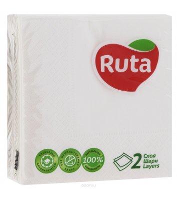 Серветки паперові двошарові 40шт 24*24см білі, Ruta