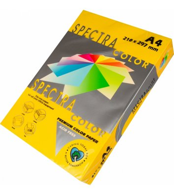 Бумага А4 160г/м2 250л цветная Spectra Color, интенсив желтая