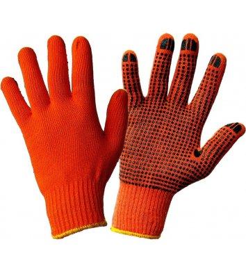 Рукавички бавовняні з ПВХ крапкою помаранчеві
