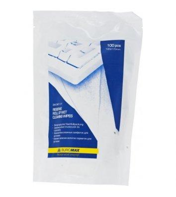 Серветки вологі змінні універсальні для очищення оргтехніки та меблів 100шт в пакеті, Buromax
